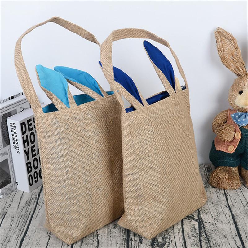 Burlap Пасхальная корзинка с кроличьи ушки Корзины DIY Кролик Сумки джутовые для хранения Tote Сумка Симпатичные Пасха Подарочные сумки Rabbit Ears Положите пасхальные яйца Продажа