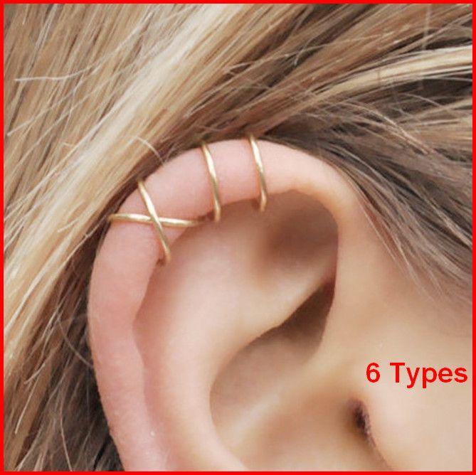 الكفة الأذن لا ثقب Earcuff مزدوجة الكفة الأذن ومتقاطع الغضروف بسيط الغضروف حلق acc025