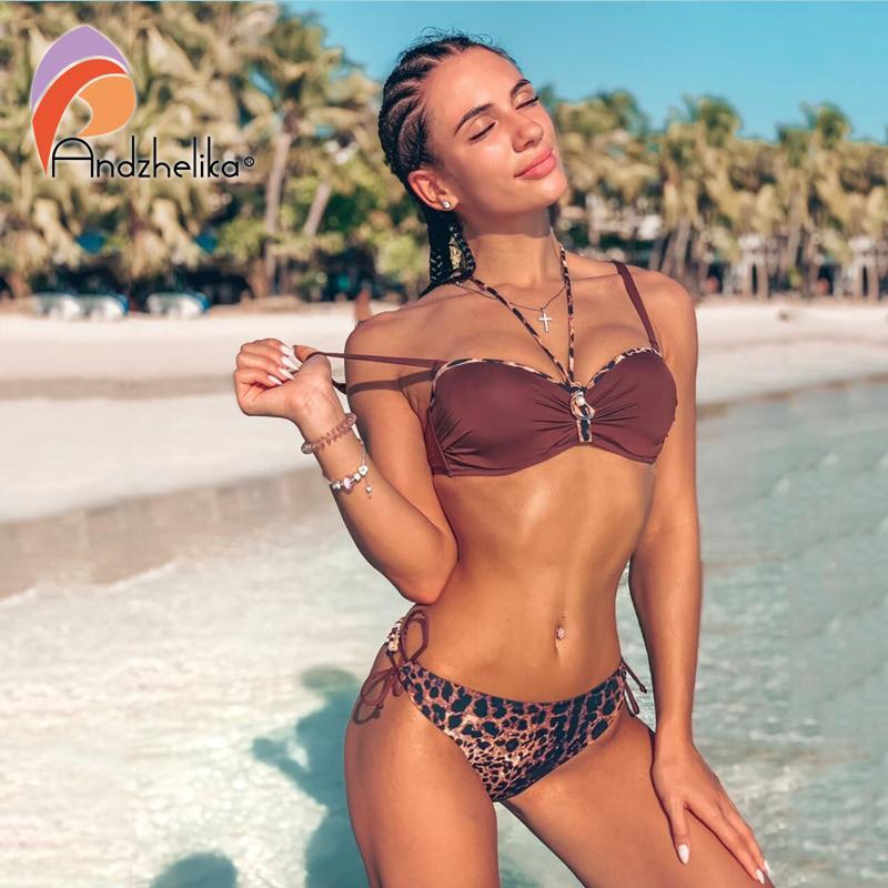 Andzhelika Sexy Leopard Bikini 2019 Summer Women Swimsuit Push Up Bikini Set Traje de baño Traje de baño de playa Monokini Y19072401