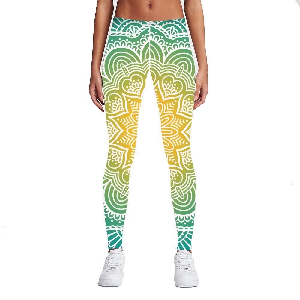 Фитнес гетры Brand New Мода Женщины Legins Mandala огни 3D печать Sexy высокой талией женщина гетры Зеленый Фитнес Брюки