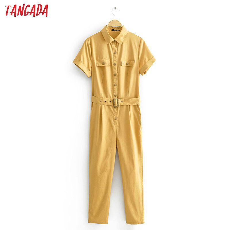 Tangada Mulheres verão caqui macacão de algodão sólida com correia curta bolso luva estilo boyfriend feminino Jumpsuit JA03 T200704