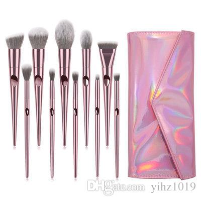 2019 Newest Makeup brush Electroplated Plastic Handle Laser Finger Handle Wet Wild Cosmetic Brush Set with 10 Cosmetic Brushes