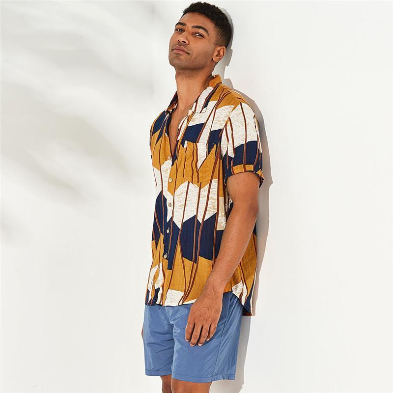 Shirts Strand-Art-Mode mit kurzen Hülsen-beiläufige Hemden Mens 2020 Luxuxentwerfer Shirts drucken zufällige Männer