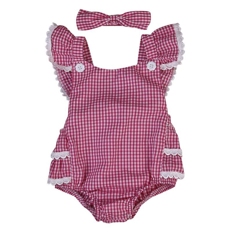 2020 Infant Baby Girls Lace Plaid Romper Bodysuits Summer Sleeveless Red Jumpsuit With Headband Outfits 0-24M