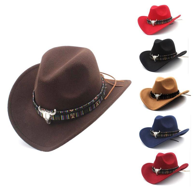 estilo étnico sombrero vaquero occidental las mujeres del sombrero del jazz del sombrero de lana unisex vaquero occidental f alimentos para mascotas