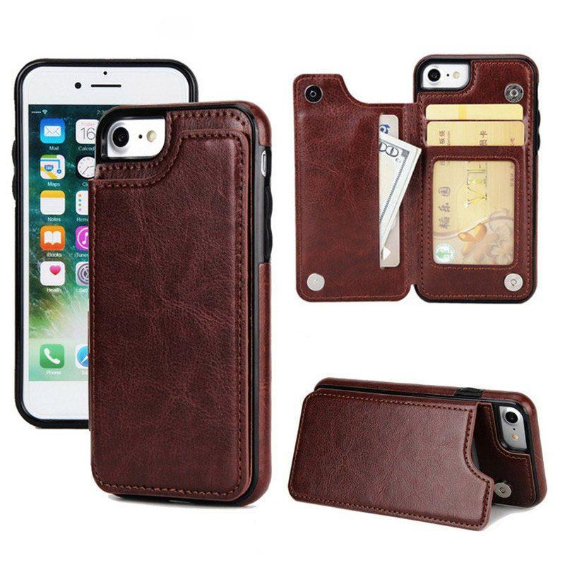 Custodia in pelle PU per iPhone 11 Pro Max XR X 8 Custodia morbida per portafoglio in TPU Cover posteriore di lusso con slot per carte di credito