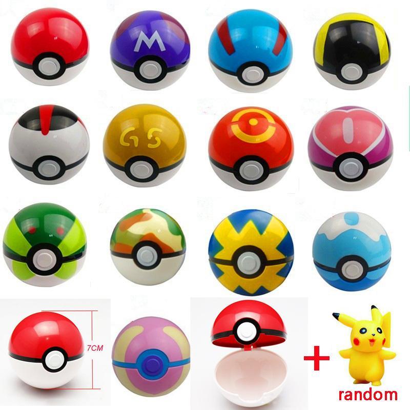 Различные цвета 13 шт. / лот 13 Pokeball + 13 шт. бесплатный случайный рисунок аниме фигурки игрушки