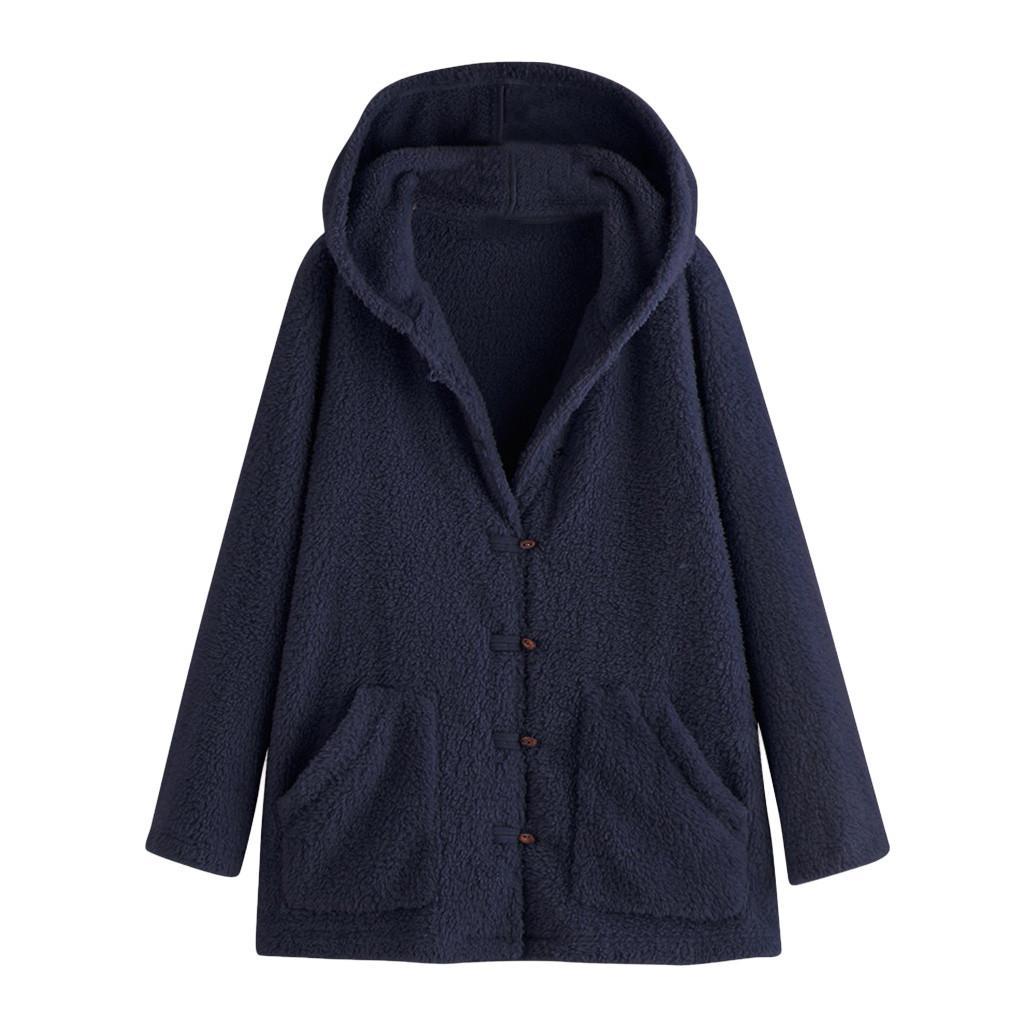 Autunno caldo cappotto Furry femminile panneggiata Tasche Giacca a vento invernale anteriore aperto con cappuccio a maniche lunghe ad alta Trench Moda Feminina