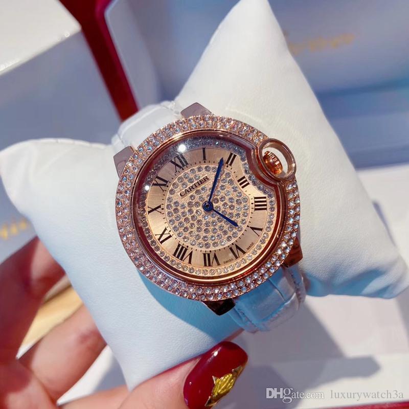 Toptan Tasarımcı Bayan Saatleri Elbise Rose Gold buzlu Out İzle 32mm Kadınlar Lüks Moda Saatler Noel Hediyesi