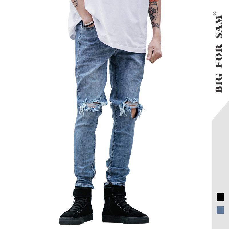 et l'hiver pantalon européen et mince hommes américains, petite fermeture éclair pied, trou du genou, pantalons mendiant, jeans hommes nouveau style
