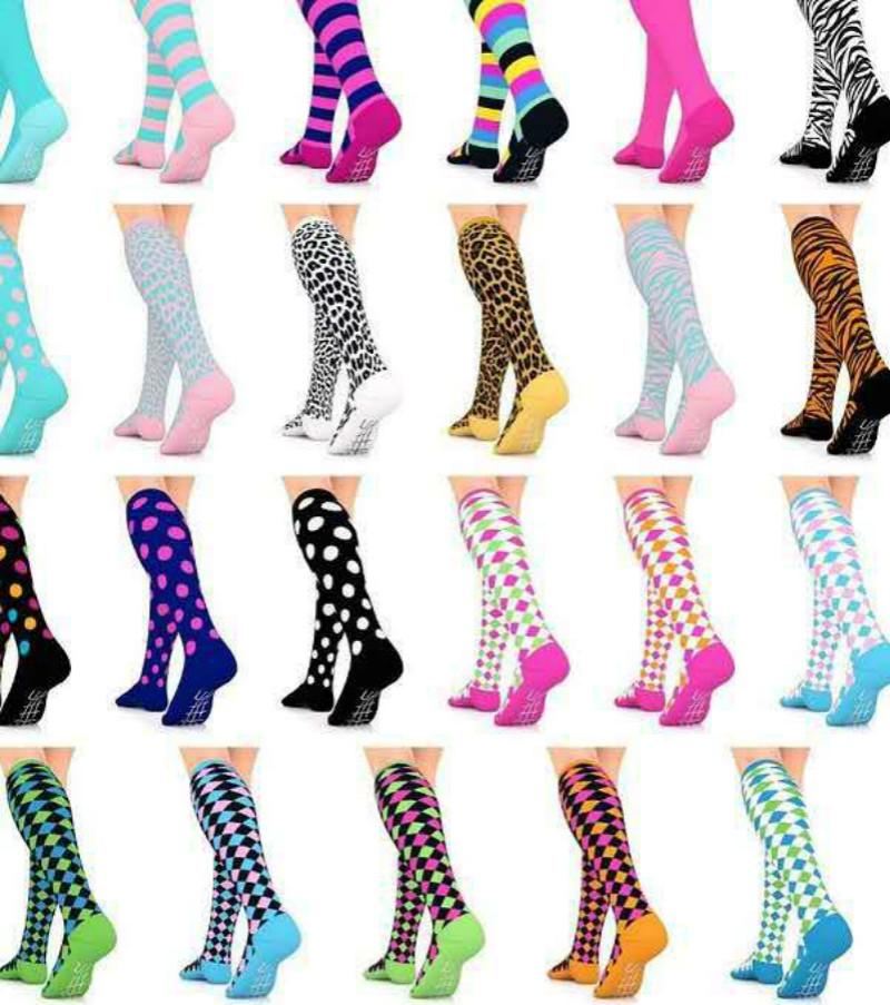 Color Combination Compression Socks For Women 3D Print Knee High Boot