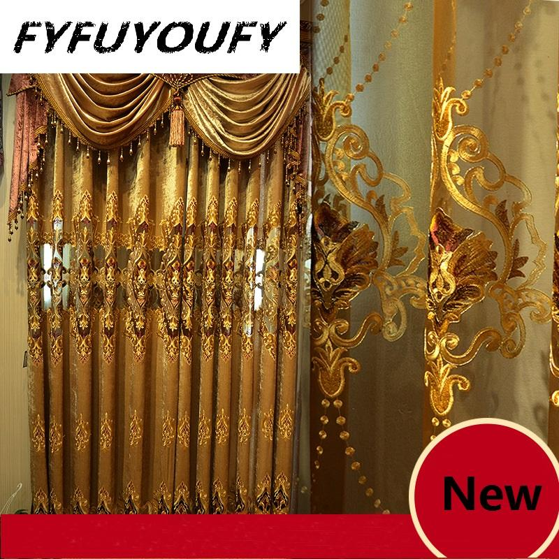 Chenille Jacquard European luxury classic embroidery shade decorative curtains for Living Room/Bedroom Royal Gold