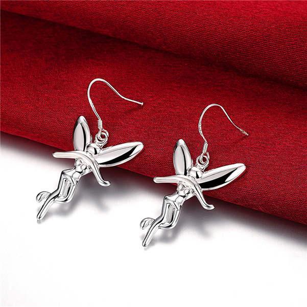 Vendita calda Sterling Sterling Silver Appeso Angelo orecchino SDSE193, Adatti all'ingrosso 925 Argento Dangle Chandelier Orecchini Best regalo