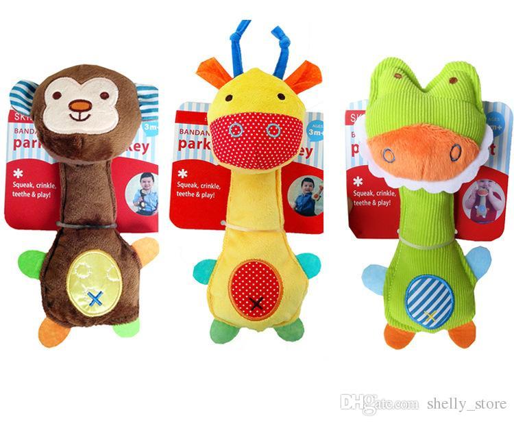 Baby Hand Bell Встроенный BB Hand Grab Bar Супер Милый Мультфильм Животных Плюшевые Игрушки Руки Кукольный Детские Игрушки