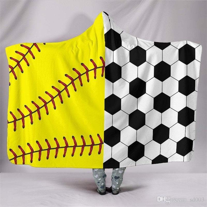أطفال البشكير البيسبول مقنعين بطانية كرة القدم عباءات البيسبول الرياضة موضوع 3d الطباعة سميكة 130 * 150 سنتيمتر متعددة أنماط 70jm f1