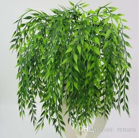 5 tenedores planta colgante verde Artificial Willow Wall decoración del hogar balcón decoración cesta de flores accesorios