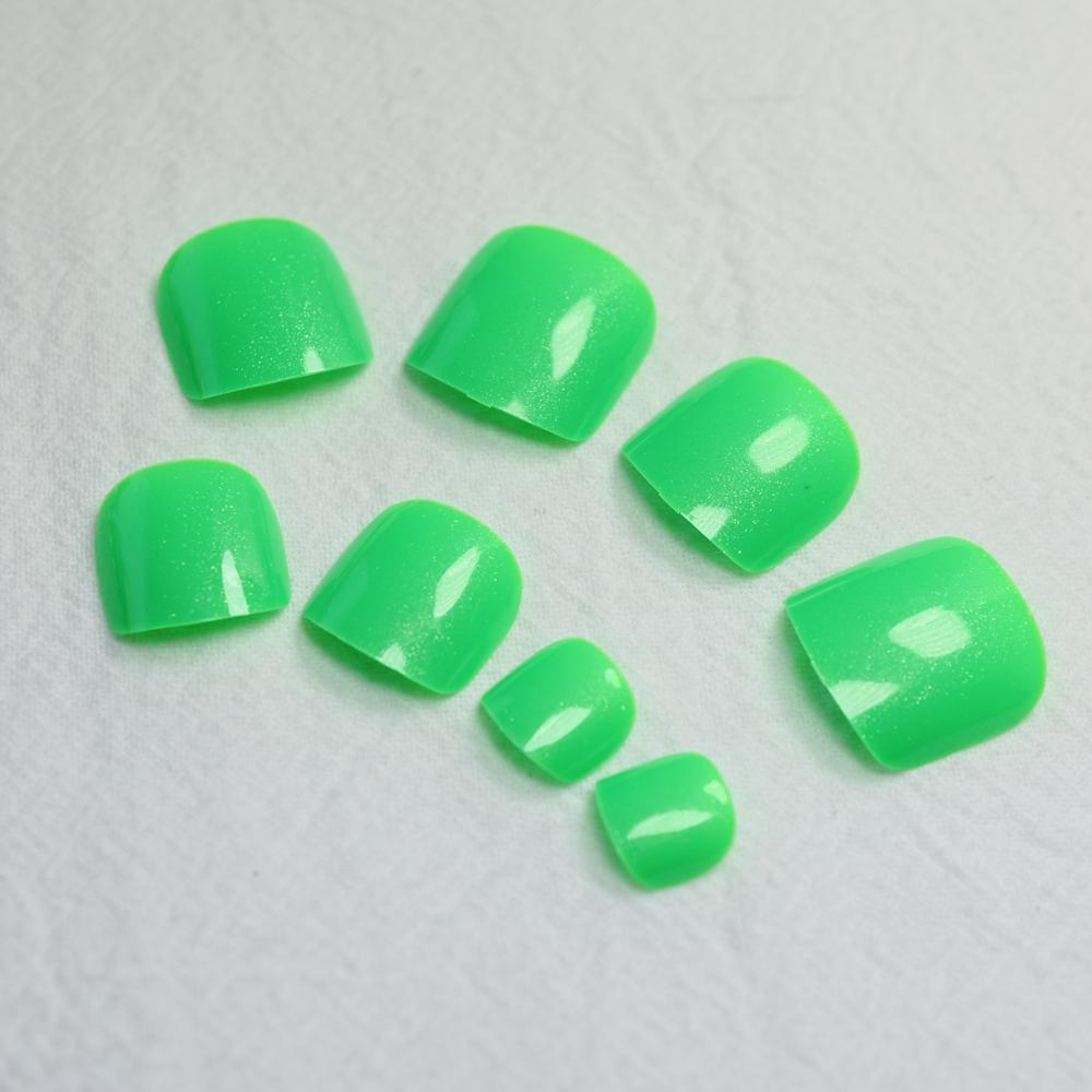 Fashion Toenails Candy Green False Toe Nails Acrylic French Short Full Fake Nails for Toes 24pcs