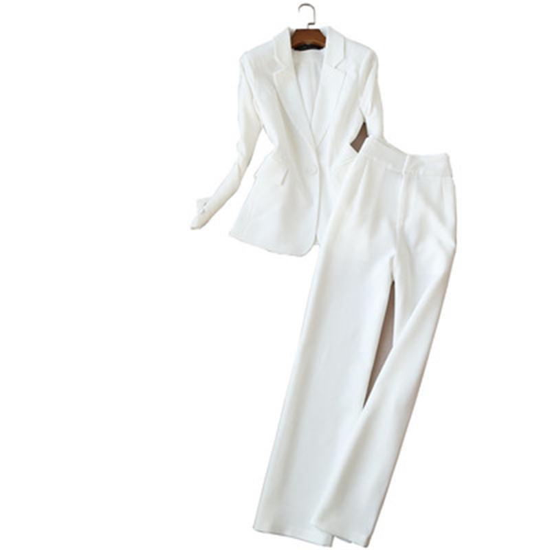 Mujeres de la manera del juego de la ropa de trabajo del verano del resorte Nuevas series de alta calidad traje de negocios blanco + altura de la cintura de los pantalones de pierna ancha mujeres