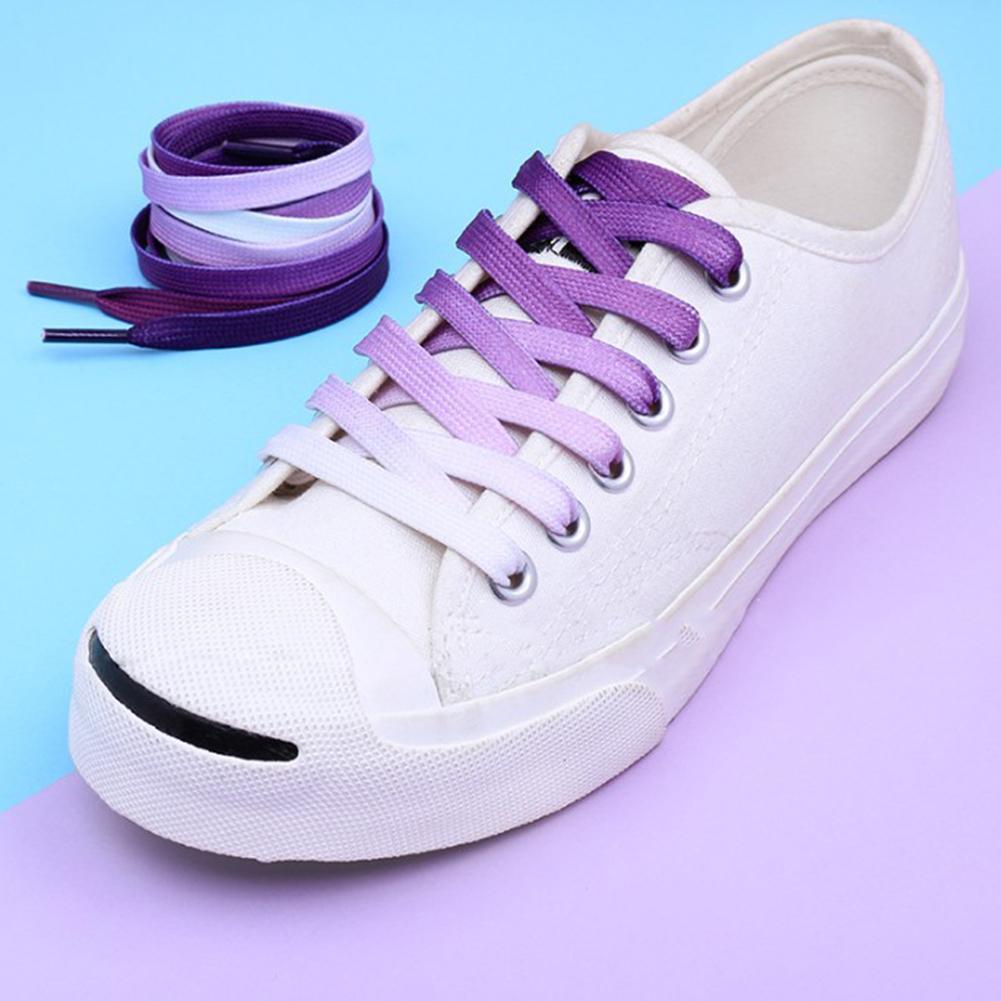 1 Pair Rainbow Colored Shoe Laces Sneaker Flat Elastic Shoelaces Hiking Boots Shoe Strings Colored Shoe Laces for Sneakers Laces