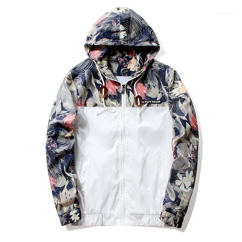 Painéis com capuz Casacos Moda Imprimir Patchwork Cor jaquetas casuais Plus Size Magro Jackets Mens Vestuário dos homens do desenhista