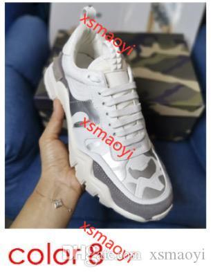 Valentino Moda Patchwork Rockrunner kamuflaj Sneakers hococalGenuine deri dağcılar Ayakkabı bağbozumu Platformu Erkek Kadın Sneaker 8 renkler Koşu
