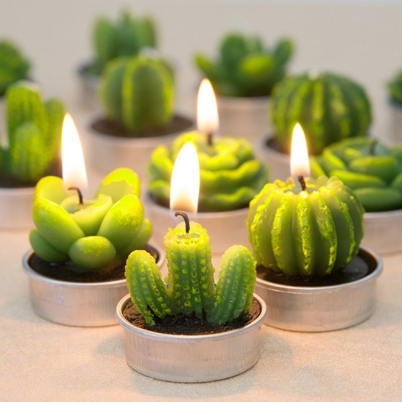 Decoración fiesta de cumpleaños 12pcs plantas suculentas Cactus del molde DIY del aroma de Yeso de silicona Vela Moldes Inicio de boda