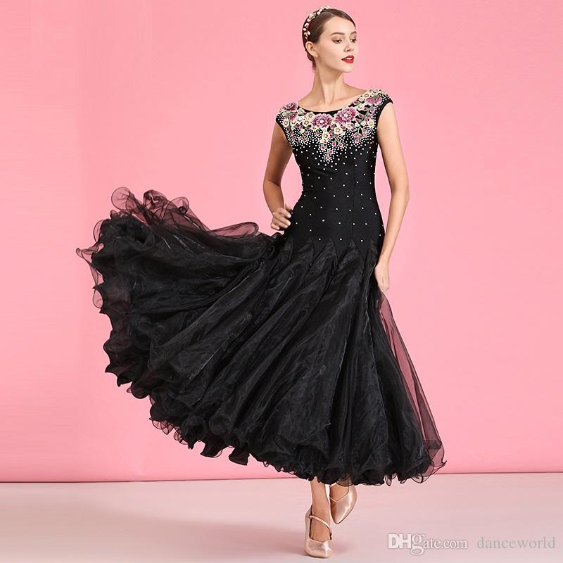 robes de concours de danse de bal noire pour la danse balançoire broderie standard robe de bal valse robe de danse robe de soirée dancewear
