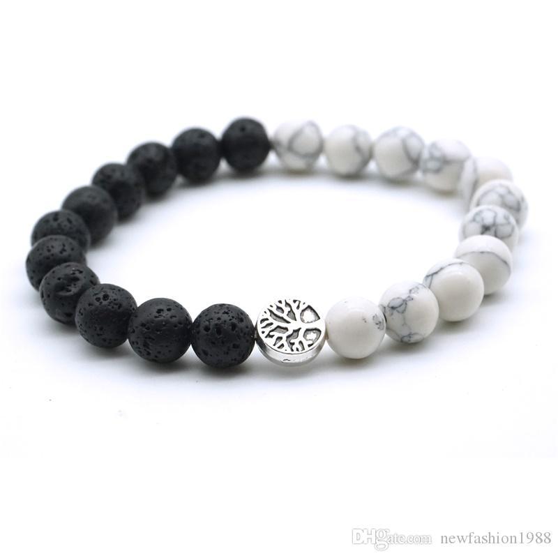 Árbol de la vida Negro piedra de la lava aromaterapia esencial Yoga difusor de aceites pulsera joyería Strand