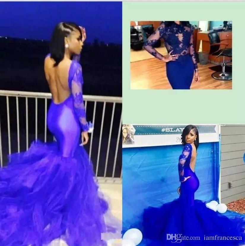 2019 New Arrival Latest Long Sleeves Mermaid Prom Dresses Sexy Backless Royal Blue Tulle Satin Sweep Train Formal Evening Gowns