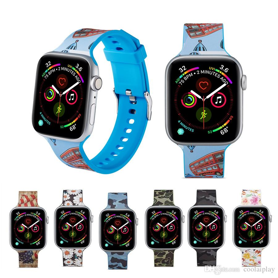 New printing silicone watch strap for apple watch series 1 2 3 4 5 soft sports band For iwatch 38mm 40mm 42mm 44mm straps accessories
