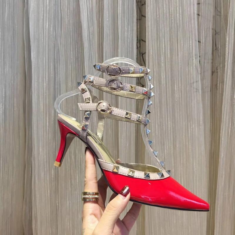 zapatos de tacón alto de las mujeres nueva estación de alta calidad de cuero sandalias de patente 35-42 ENVÍO de la fábrica directa europea