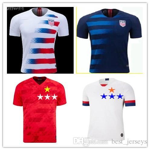 Football Maillots 2019 États-Unis Coupe du Monde Domicile Extérieur Personnalisé DEMPSEY DONOVAN BRADLEY PULISIC Football américain Chemises uniformes États-Unis Jersey