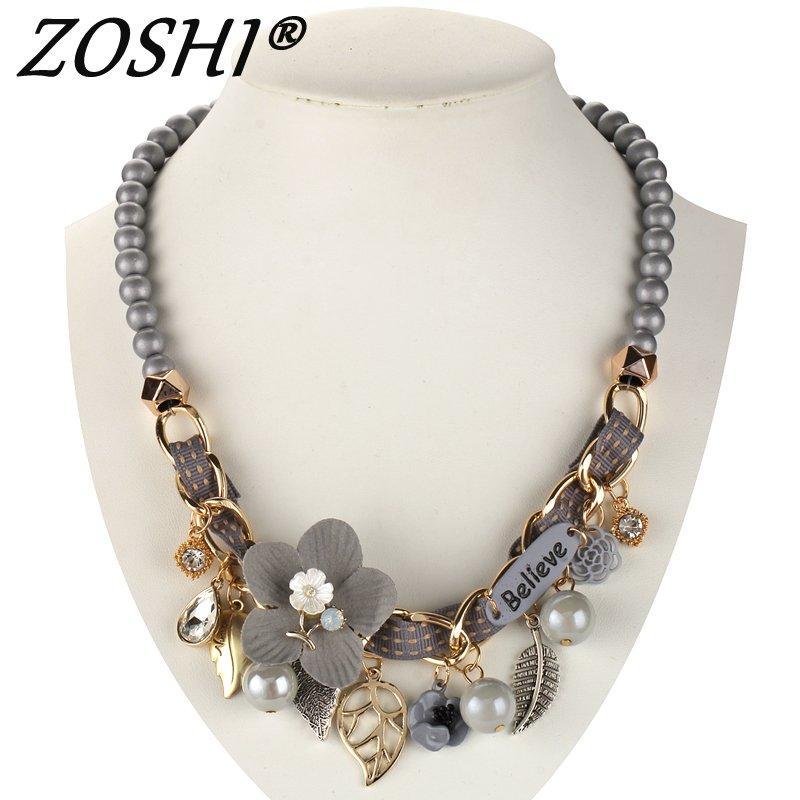 2019 NOUVEAU collier de mode collier Fleur Colliers Pendentifs à la mode tour de cou chunky déclaration de chaîne en métal simulé collier de perles