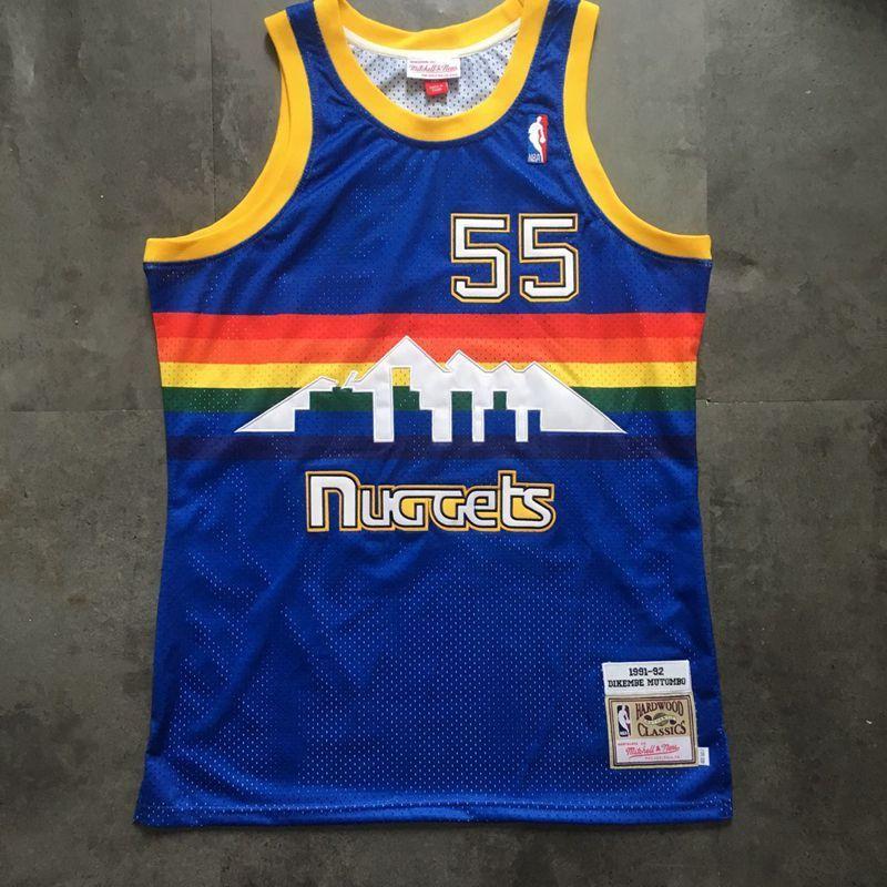 Mitchell /& Ness dikembe Mutombo Denver Nuggets Alero de los Jersey Azul