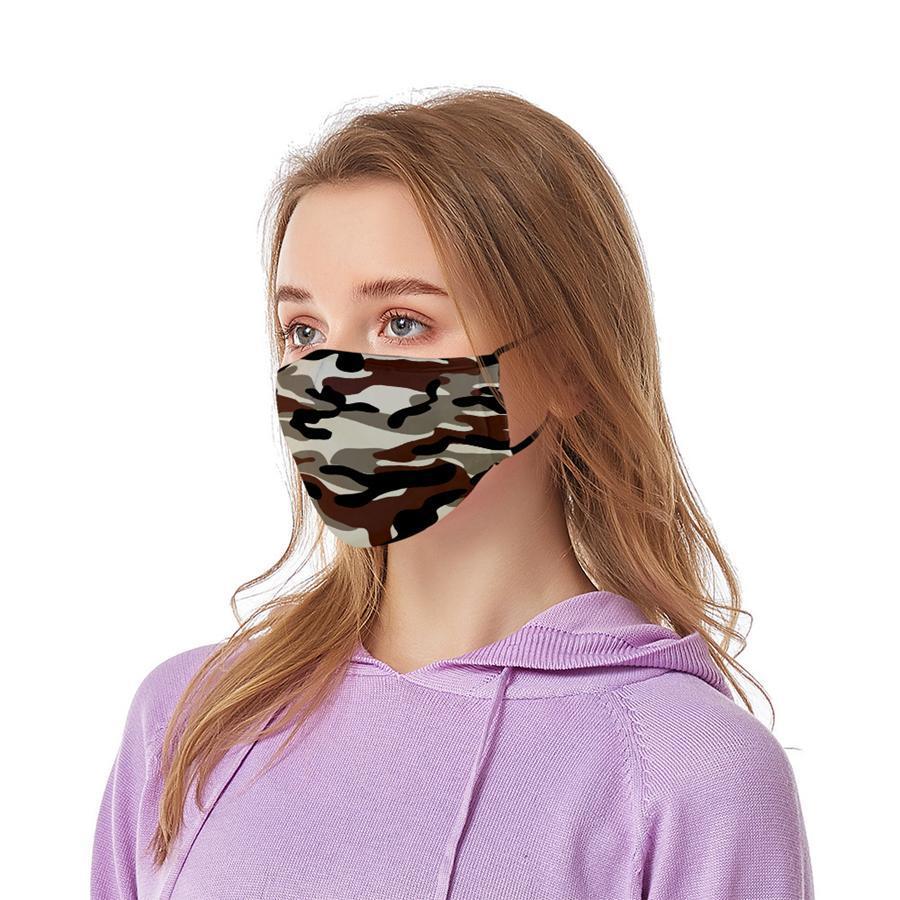 Kamuflaj Yüz 18 Styles Anti Toz Açık Ağız Kapak Kamuflaj Baskılı Karşıtı Haze Yıkanabilir Elastik kulak askısı Maskeleri LJJO7874 Maske