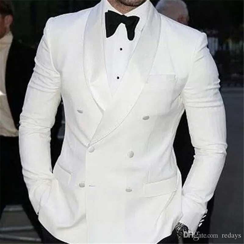 İş Adamı Suits Pantolon Saten Geniş Şal Damat Düğün Smokin Groomsmen Blazer İki Parça Dar Kesim Trajes de hombre için Fromal Beyaz Suit