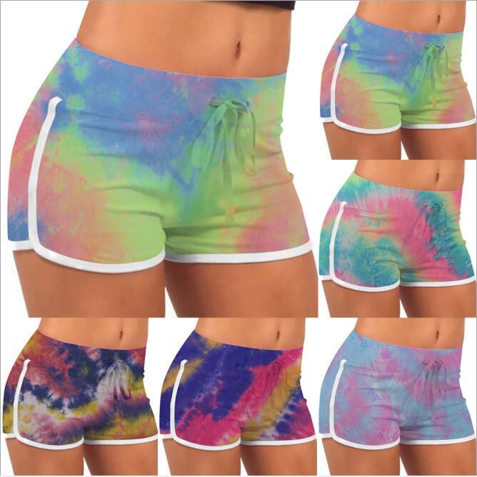 Tie-Boya Şort Yaz Streç Kaldırma Kalça Sıcak Pantolon Kızlar Ince Rahat Pantolon Yüksek Bel Fitness Tayt Yoga Şort Baskılı Egzersiz B7570