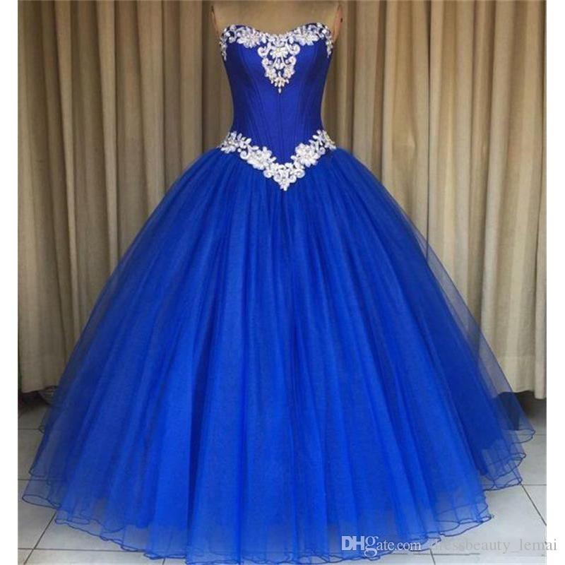 Aturde azul real de las rosas Quinceañera vestidos de baile vestido de bola barato dulce 16 vestidos para los cristales de las muchachas del Organza del corsé Volver larga moldeada
