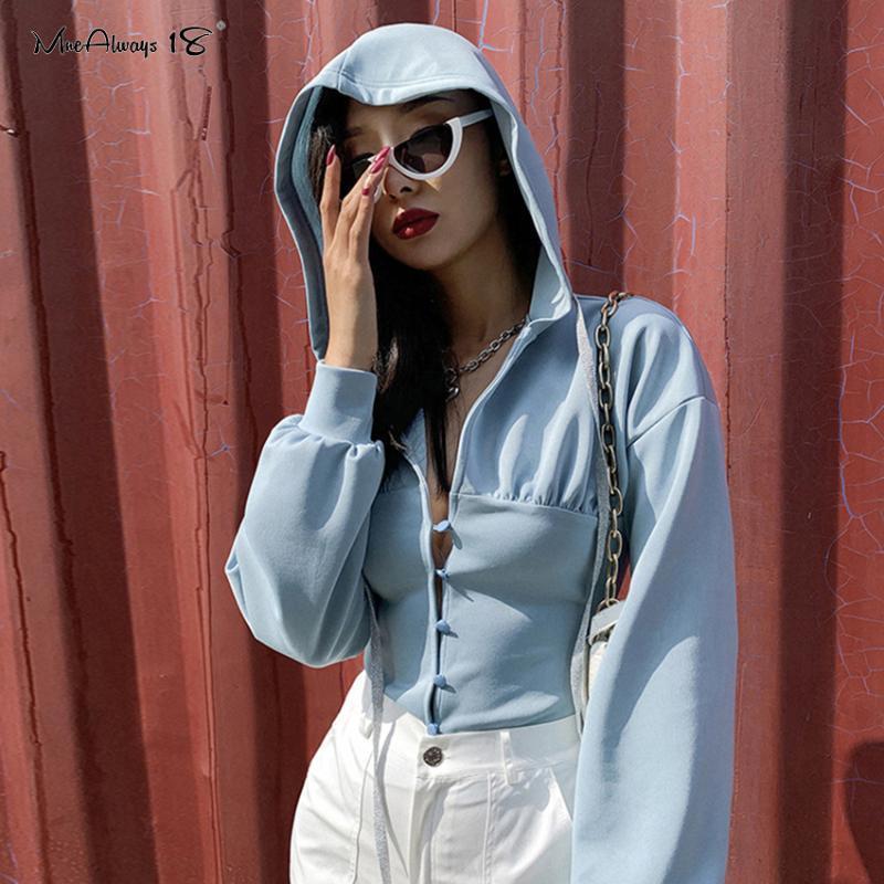 Mnealways18 Tek Breasted Tunik En Casual Kapşonlu Siyah Sweatshirt Streetwear Kadınlar Mavi Kısa Mahsul 2020 İnce Sweatshirt Tops
