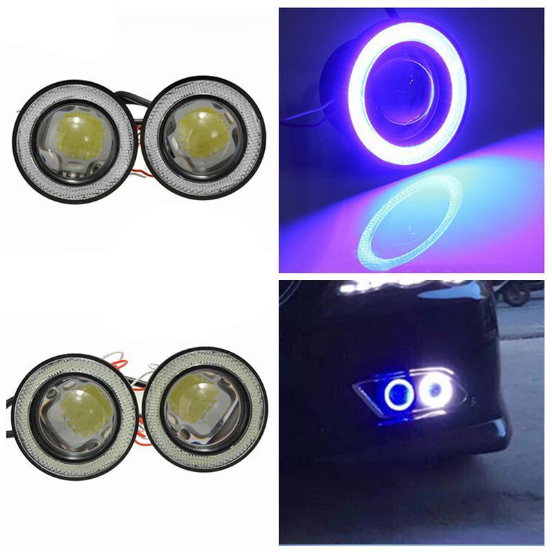 DragonPad 2pcs / lot voiture Phares anti-brouillard étanche universel 1200lm Angel Eyes COB LED DRL 12V 30W Lumières de conduite automatique de la lampe brouillard