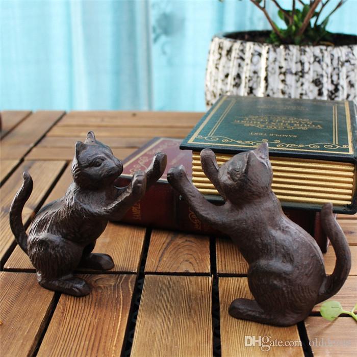 2 Piezas de hierro fundido de la vendimia libro termina sujetalibros Brown rústico Gatos Soporte de libro escritorio de la tabla de Estudio del Ministerio del Interior Decoración Animal artesanales de metal retro
