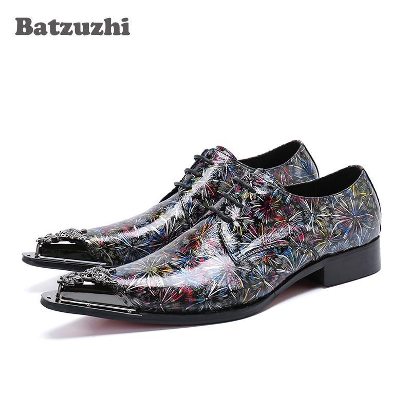 Italy Style Uomo Scarpe Punta a punta in metallo color cuoio vestito Scarpe uomo Formale Lace-up zapatos de hombre Partito Calzature!