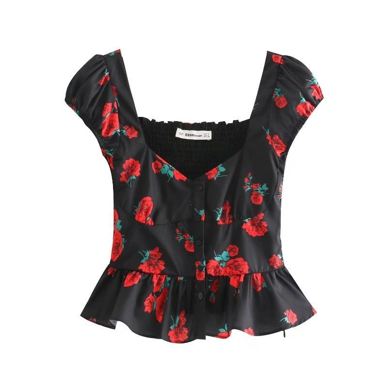 2019 Женщины сладких роз цветочного принт черный блузка подол складка оборки Рубашка женской задний эластичный случайный тонкий Tops LS3760