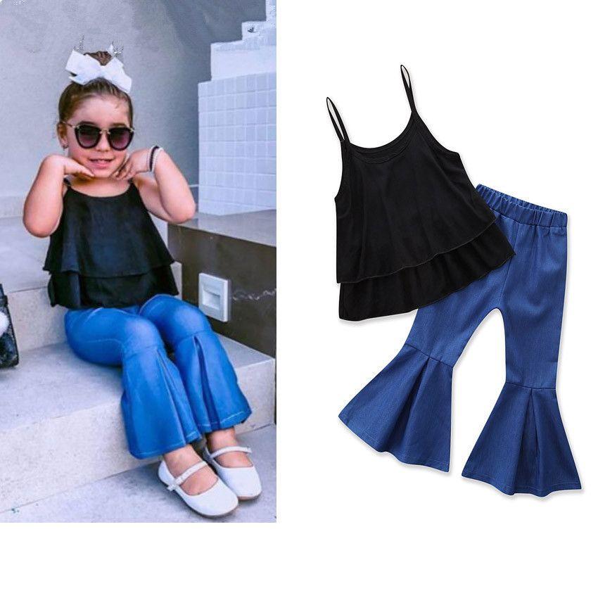 New Fashion criança Kid Baby Girl Set Roupa Ruffles Alças Regatas e reflexos Calças duas peças conjuntos de roupa