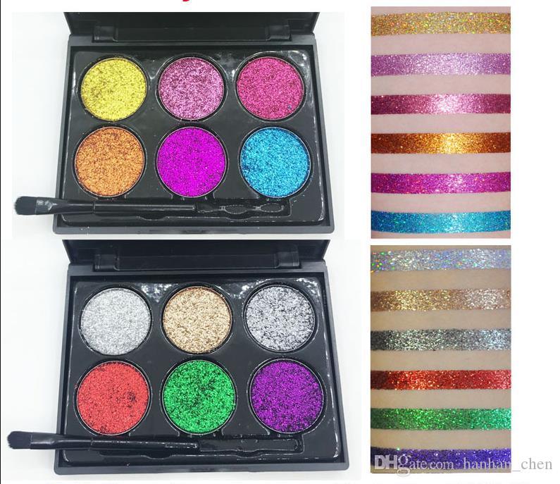 6 ألوان مثير لوحة عينيه مع العلامة التجارية الظل الترتر فرشاة الماس الجمال ماكياج العيون في الأسهم
