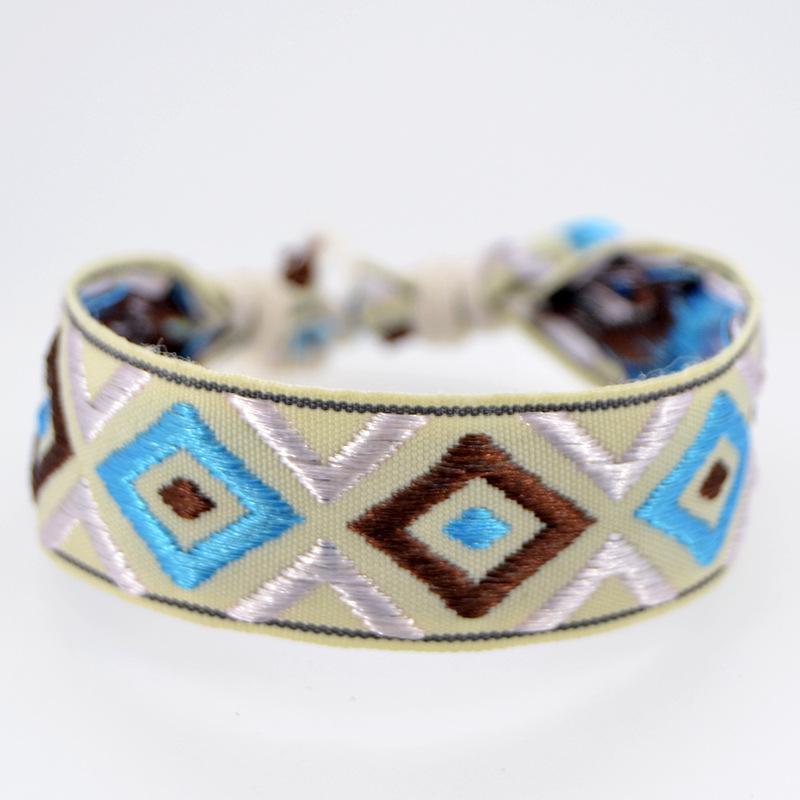 Weave Rope Friendship Bracelets for Woman Men Cotton Handmade Geometric Pattern Charm Bracelet Ethnic Jewelry Gifts