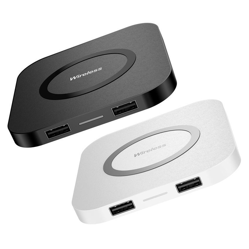 شاحن لاسلكي متعدد الوظائف Q8 USB سريع شاحن + QI المعيار اللاسلكي للحصول على اي فون 11 / إكسس ماكس / XS / 8/8 زائد سامسونج غالاكسي S10 / S9
