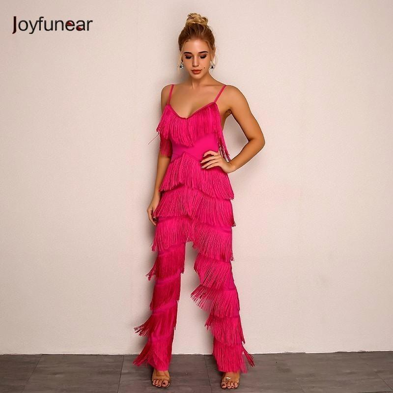 Joyfunear Solid Tassel Body Mujer Bodycon Long Sexy Women Jumpsuit Elegant Backless V Neck Rompers Womens Plus Size Jumpsuits Y19060501