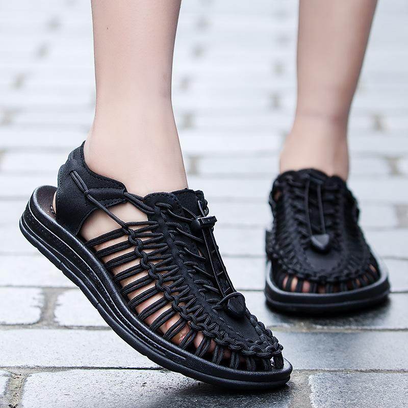 Été dame chaussures en cuir roman design sandales talon plat à lacets en tricot occasionnels plage pour l'homme et les femmes de grande taille 35-46