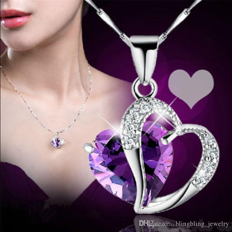 Améthyste collier coeur bijoux diamant coeur bijoux coeur en forme de cristal bijoux cadeaux de mariage en gros